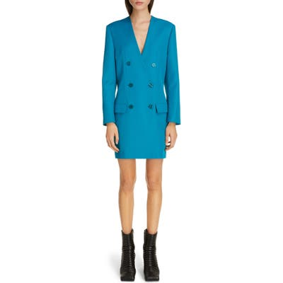 Balenciaga Double Breasted Tech Twill Long Sleeve Blazer Dress, Blue