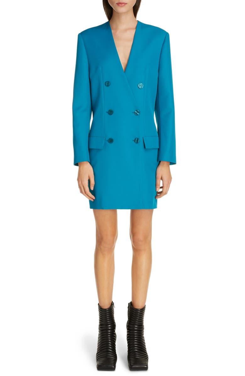 BALENCIAGA Double Breasted Tech Twill Long Sleeve Blazer Dress, Main, color, PETROL BLUE