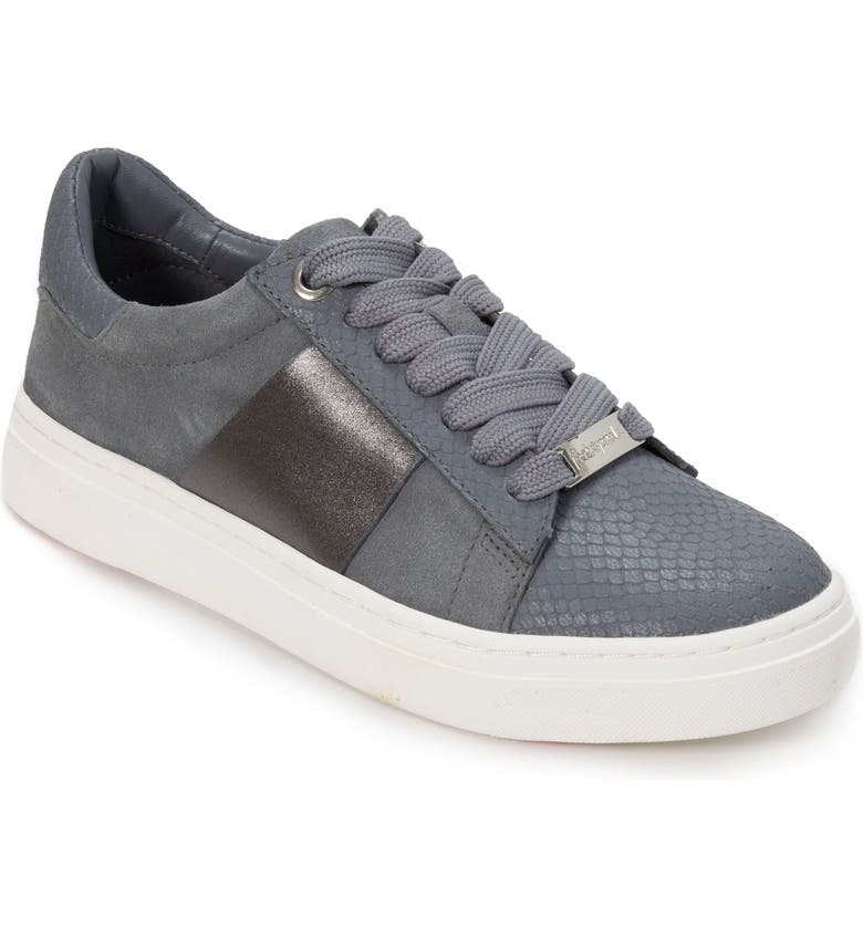 FOOT PETALS Fallon Sneaker, Main, color, STEEL BLUE SUEDE