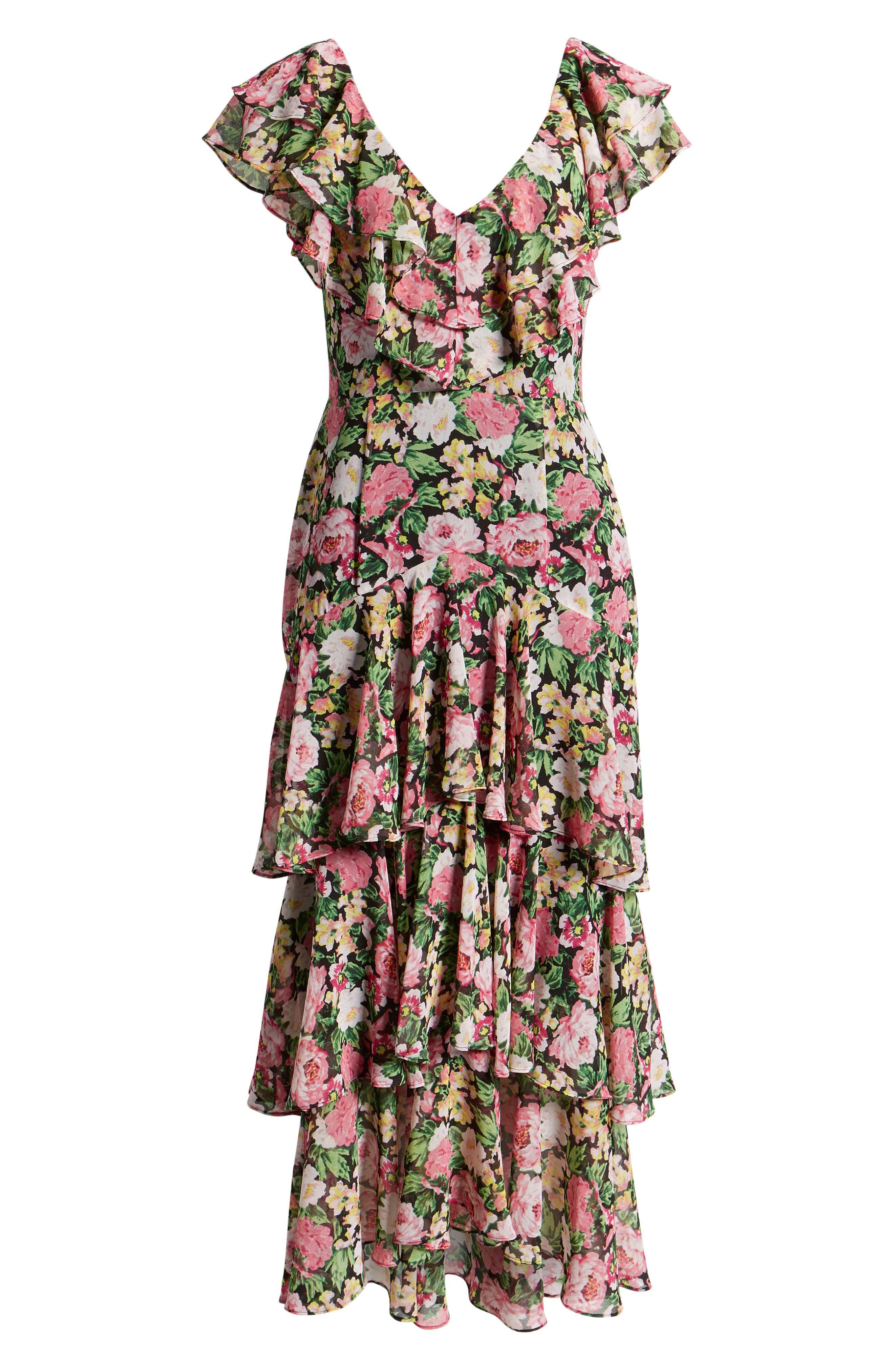 ,                             Chelsea Tiered Ruffle Maxi Dress,                             Alternate thumbnail 7, color,                             BLACK PINK ROSES PRINT
