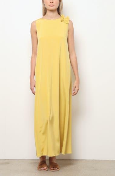 Francesca Ruffle Shoulder Stretch Silk Maxi Dress, video thumbnail