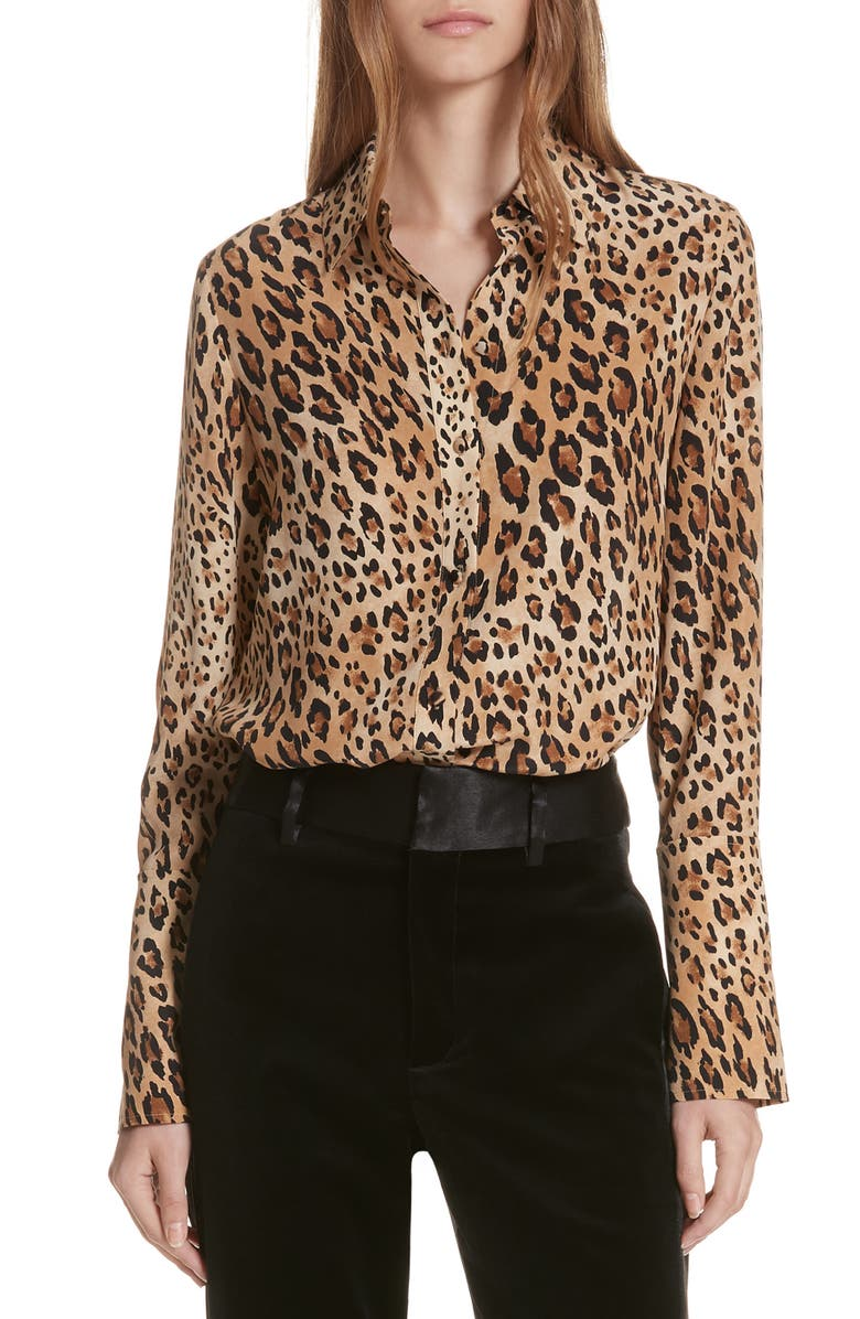 FRAME Leopard Print Silk Blouse, Main, color, 201
