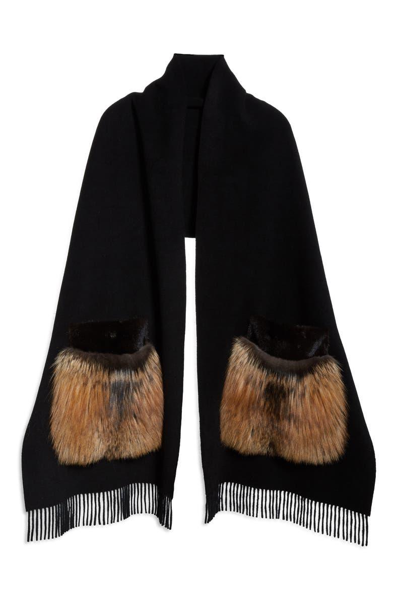 LAFAYETTE 148 NEW YORK Genuine Mink or Fox Fur Pocket Cashmere Scarf, Main, color, 001