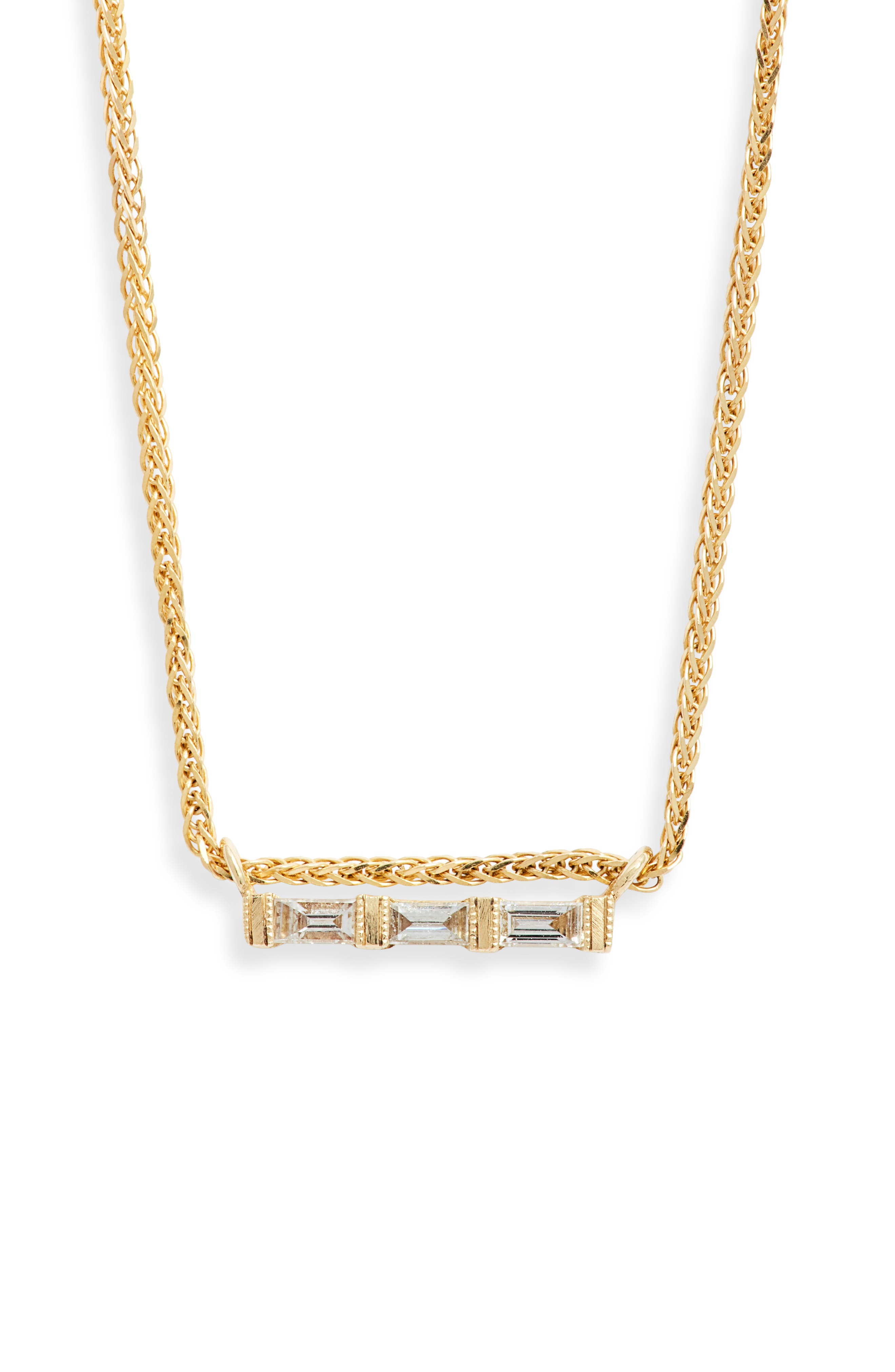 Three Diamond Baguette Necklace