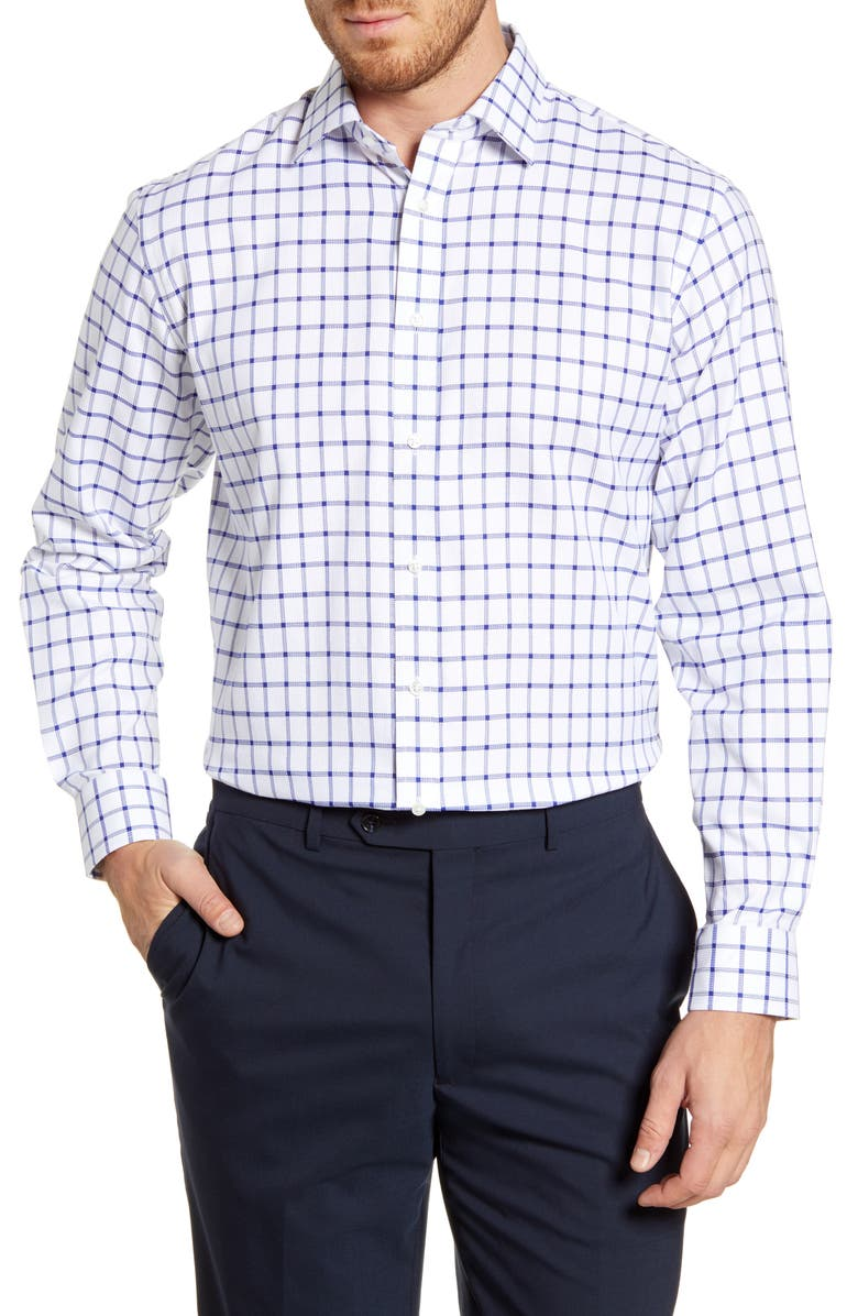 Mens Shop Traditional Fit Windowpane Dress Shirt