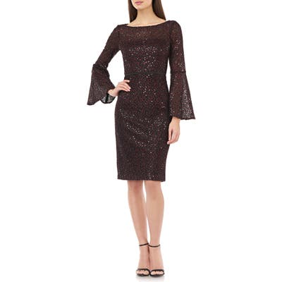 Carmen Marc Valvo Infusion Sequin Lace Bell Sleeve Cocktail Dress, Black