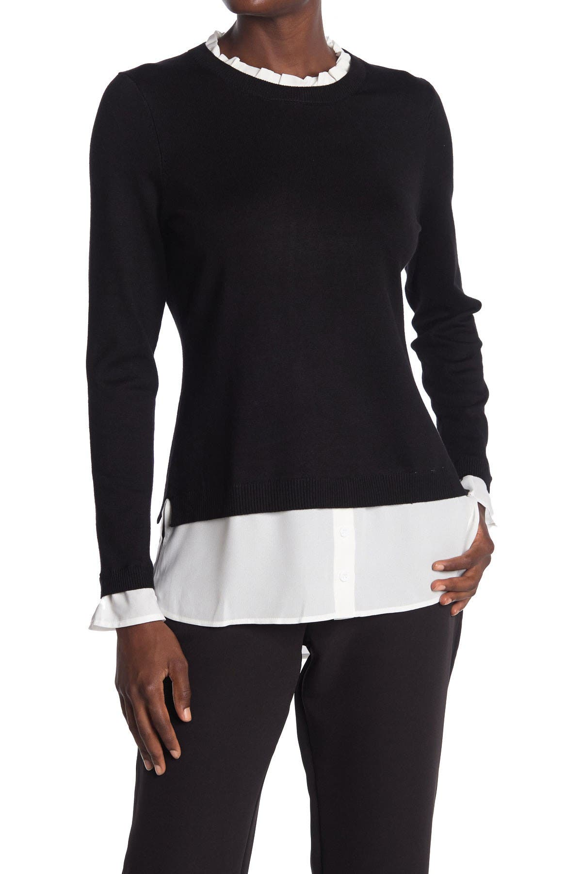 Image of Adrianna Papell Ruffle Neck Twofer Sweater
