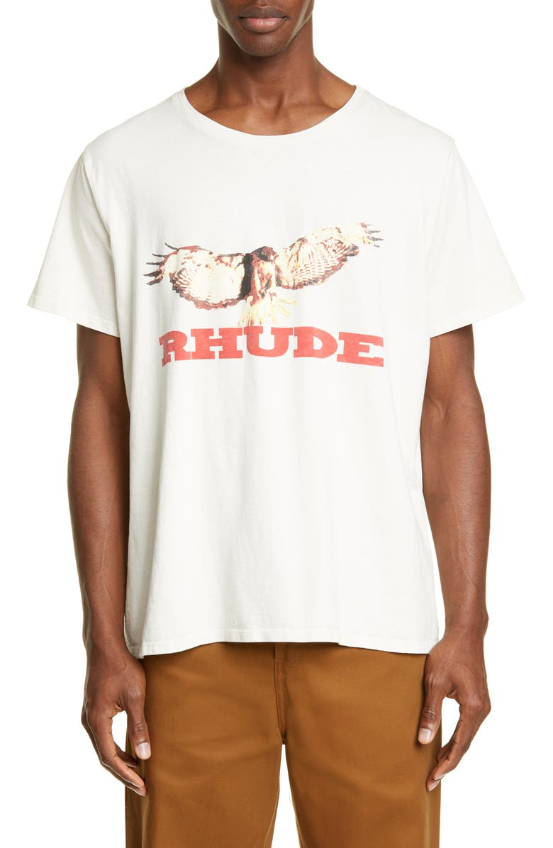 RHUDE Eagle Graphic T-Shirt, Main, color, WHITE