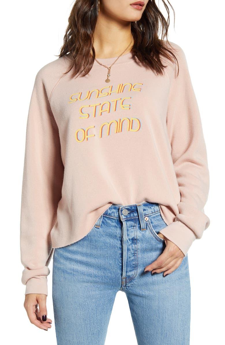 PROJECT SOCIAL T Sunshine Reversible Sweatshirt, Main, color, CAMEO ROSE