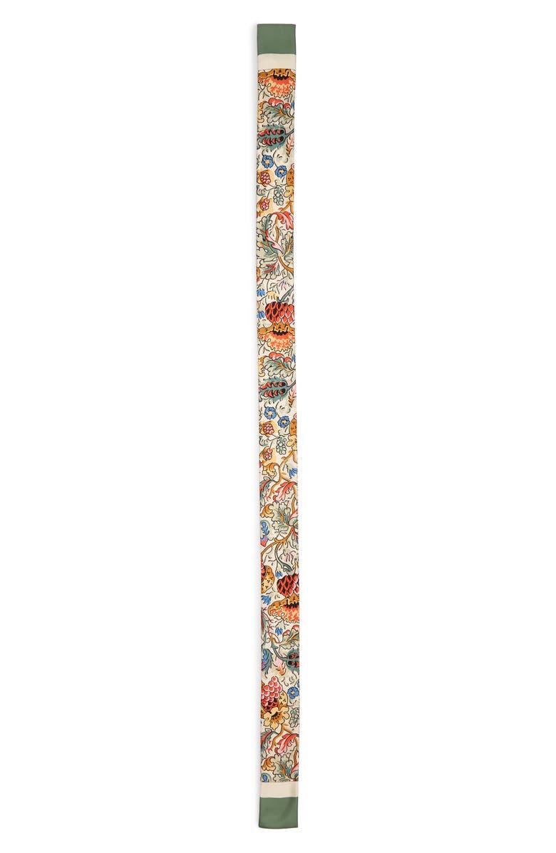 BURBERRY Floral & TB Monogram Print Skinny Silk Scarf, Main, color, 300