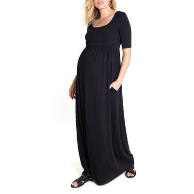 Ingrid & Isabel Elbow Sleeve Maternity Maxi Dress, Black