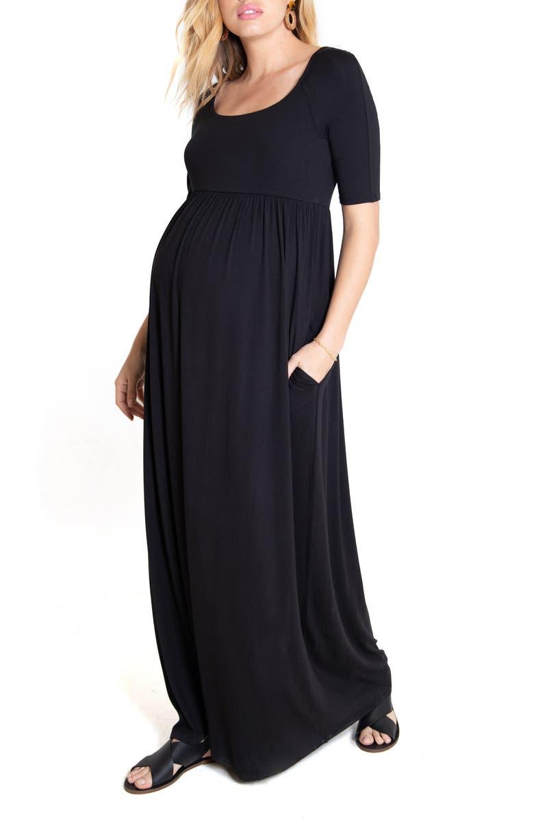 INGRID & ISABEL<SUP>®</SUP> Elbow Sleeve Maternity Maxi Dress, Main, color, BLACK