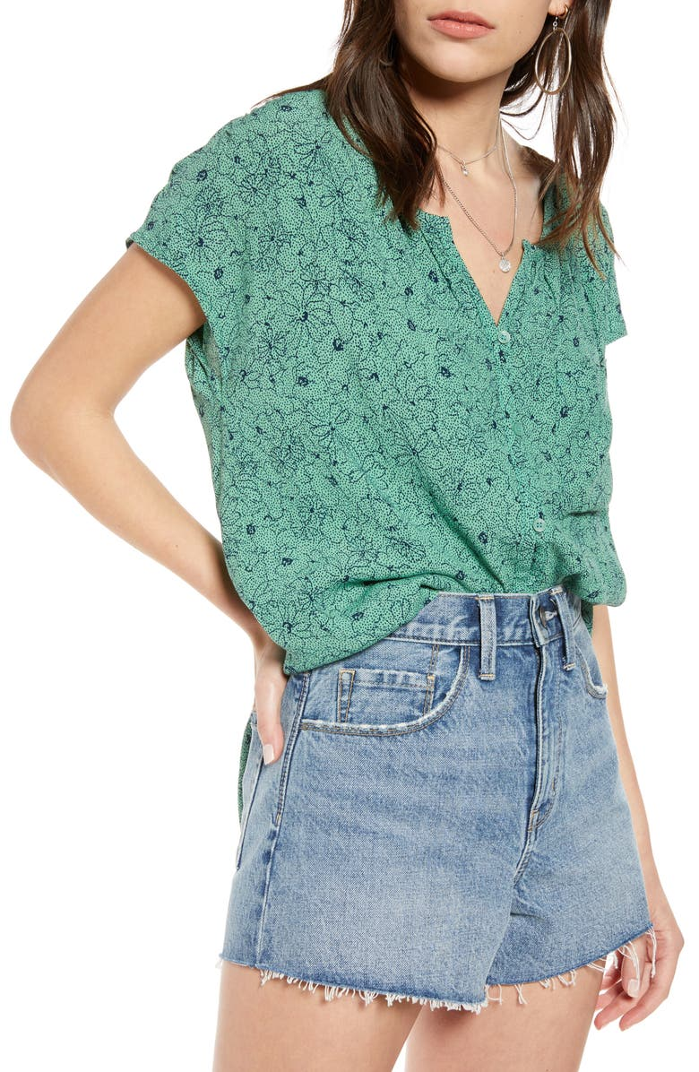 TREASURE & BOND Print Front Button Top, Main, color, GREEN WING DOTTED SKETCH FLR