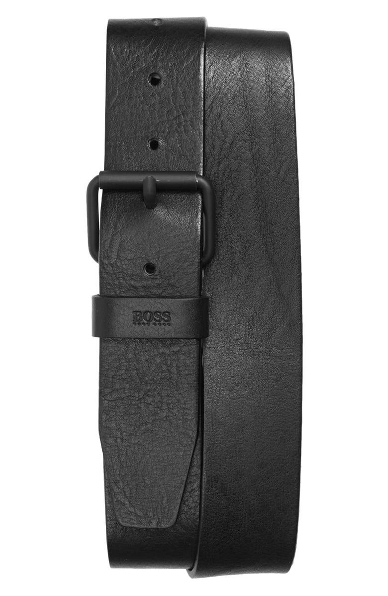 BOSS Serge Leather Belt, Main, color, BLACK