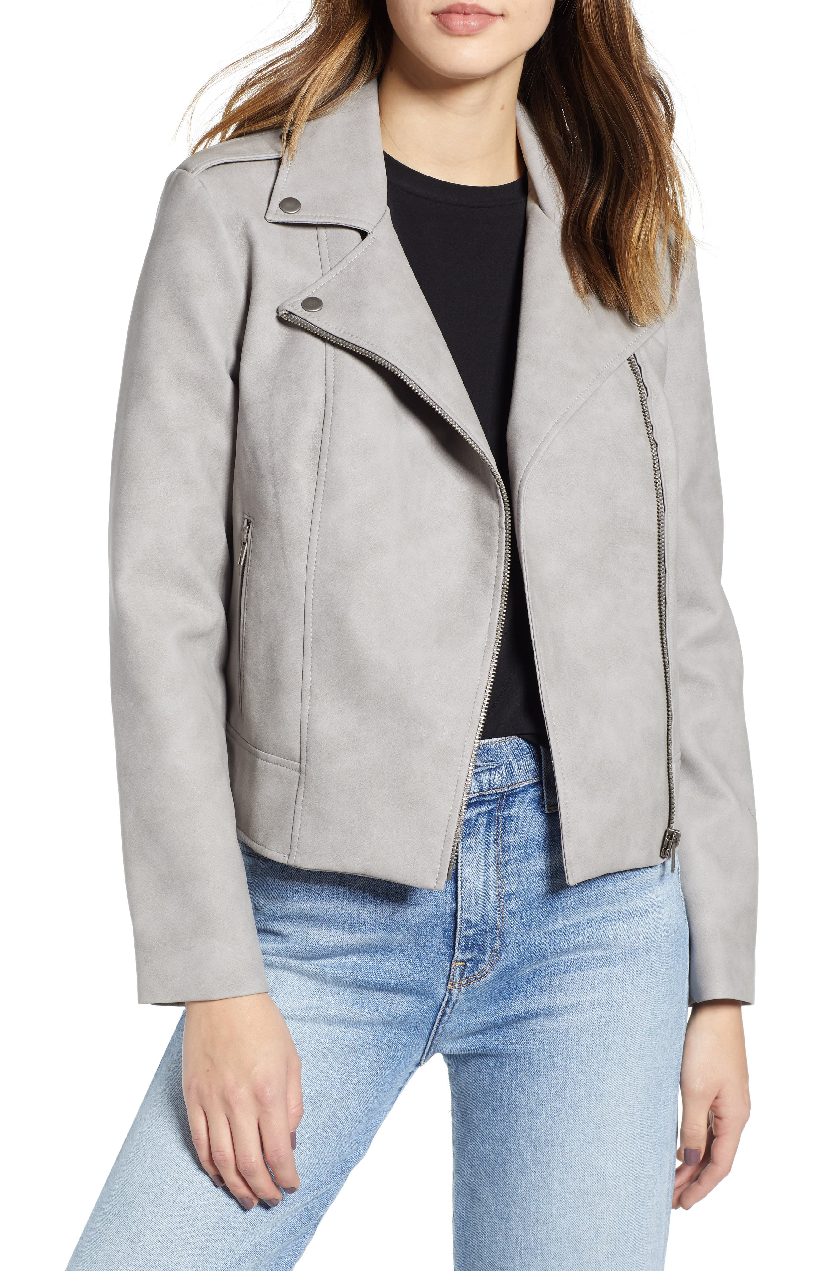 Easy Rider Faux Leather Moto Jacket, Main, color, 030