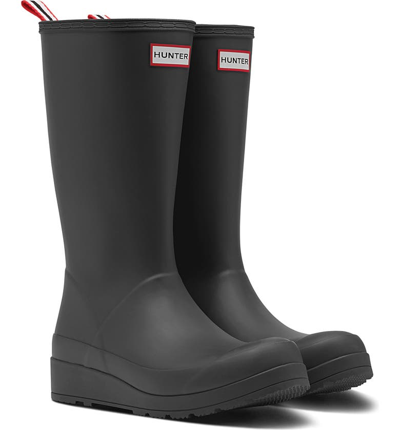 HUNTER Original Play Tall Waterproof Rain Boot, Main, color, BLACK