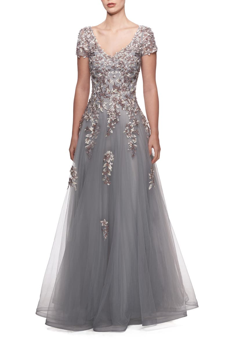 LA FEMME Embroidered & Beaded Ballgown, Main, color, GRAY