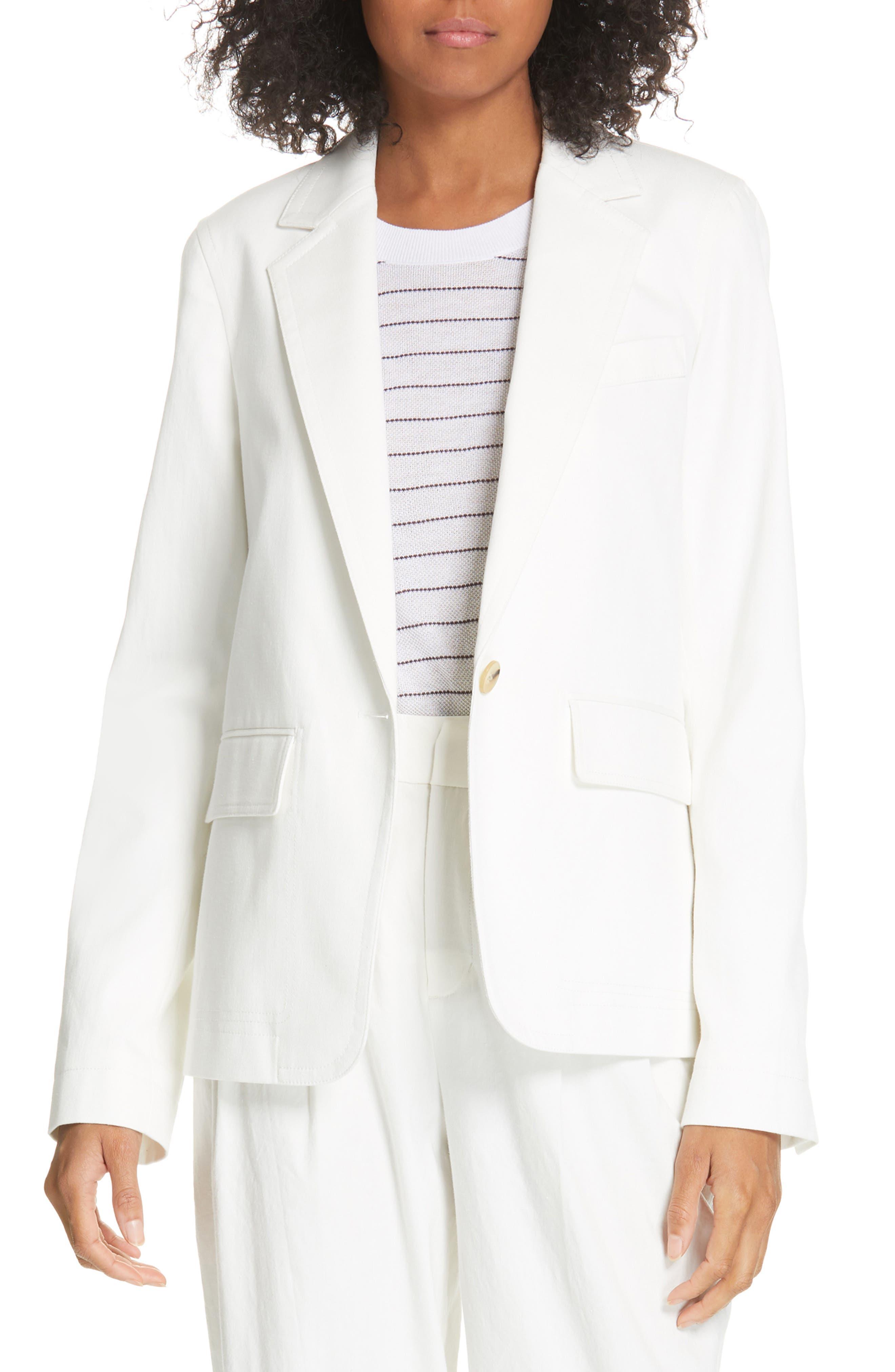 Cotton & Linen Blend Jacket, Main, color, OFF WHITE