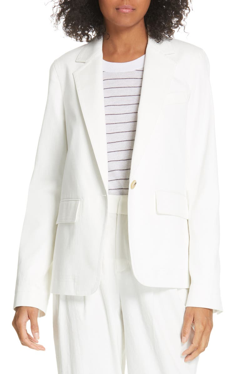 VINCE Cotton & Linen Blend Jacket, Main, color, OFF WHITE
