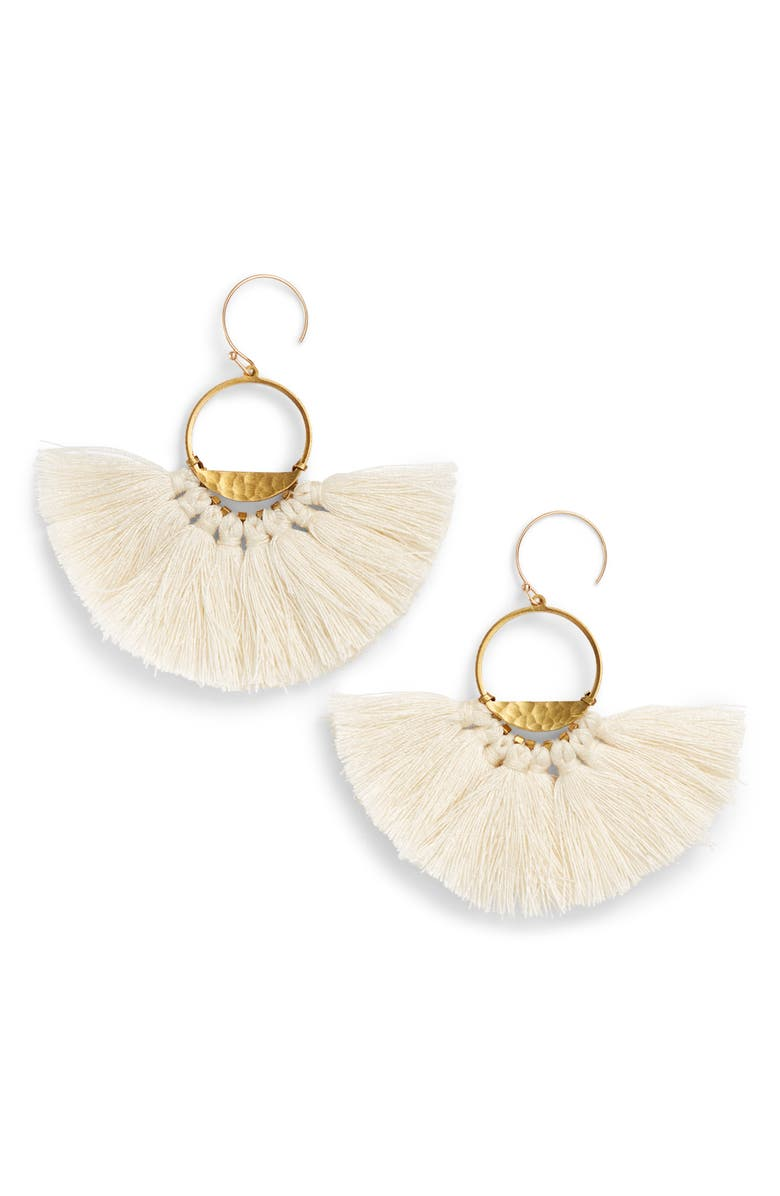 SEREFINA Flutter Tassel Earrings, Main, color, 100