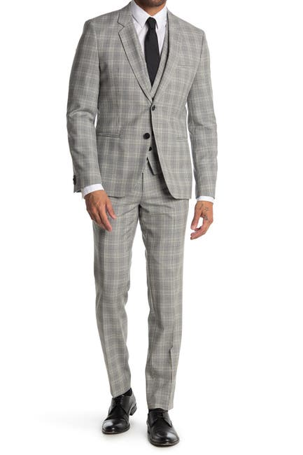 Image of BOSS Arti Hesten Grey Plaid Two Button Notch Lapel 3-Piece Suit