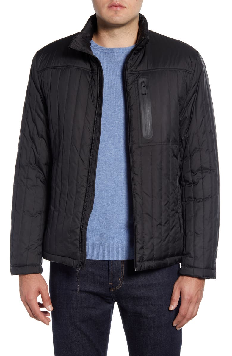 COLE HAAN Fleece Lined Quilted Jacket, Main, color, BLACK