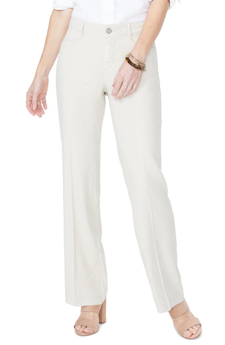 NYDJ Linen Trousers, Main, color, STRAW