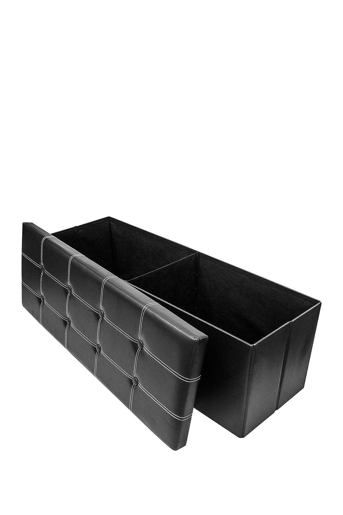 Image of Sorbus Black Faux Leather Folding Storage Ottoman Chest Bench
