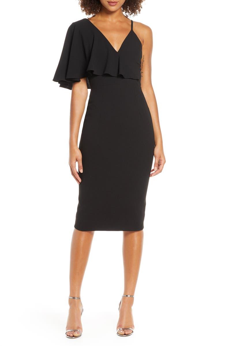 DRESS THE POPULATION Beth Asymmetrical Ruffle Sleeve Dress, Main, color, BLACK
