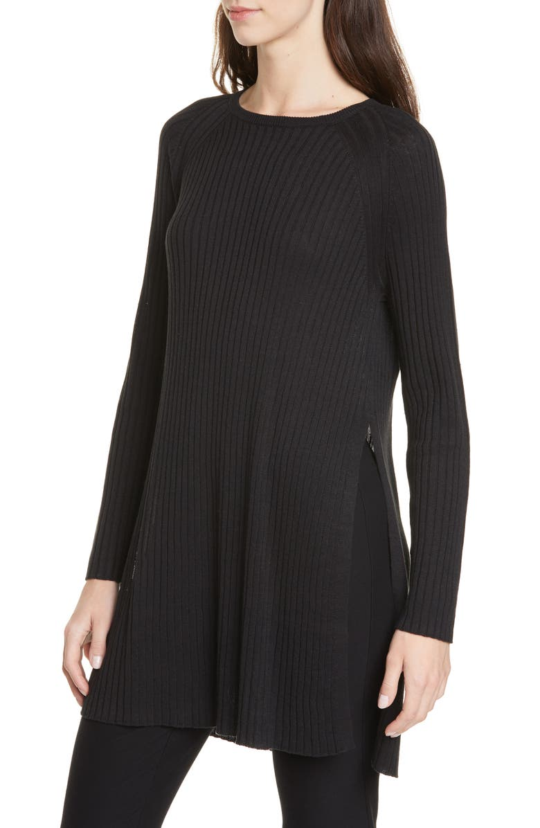 EILEEN FISHER Slit Organic Linen & Cotton Tunic, Main, color, BLACK