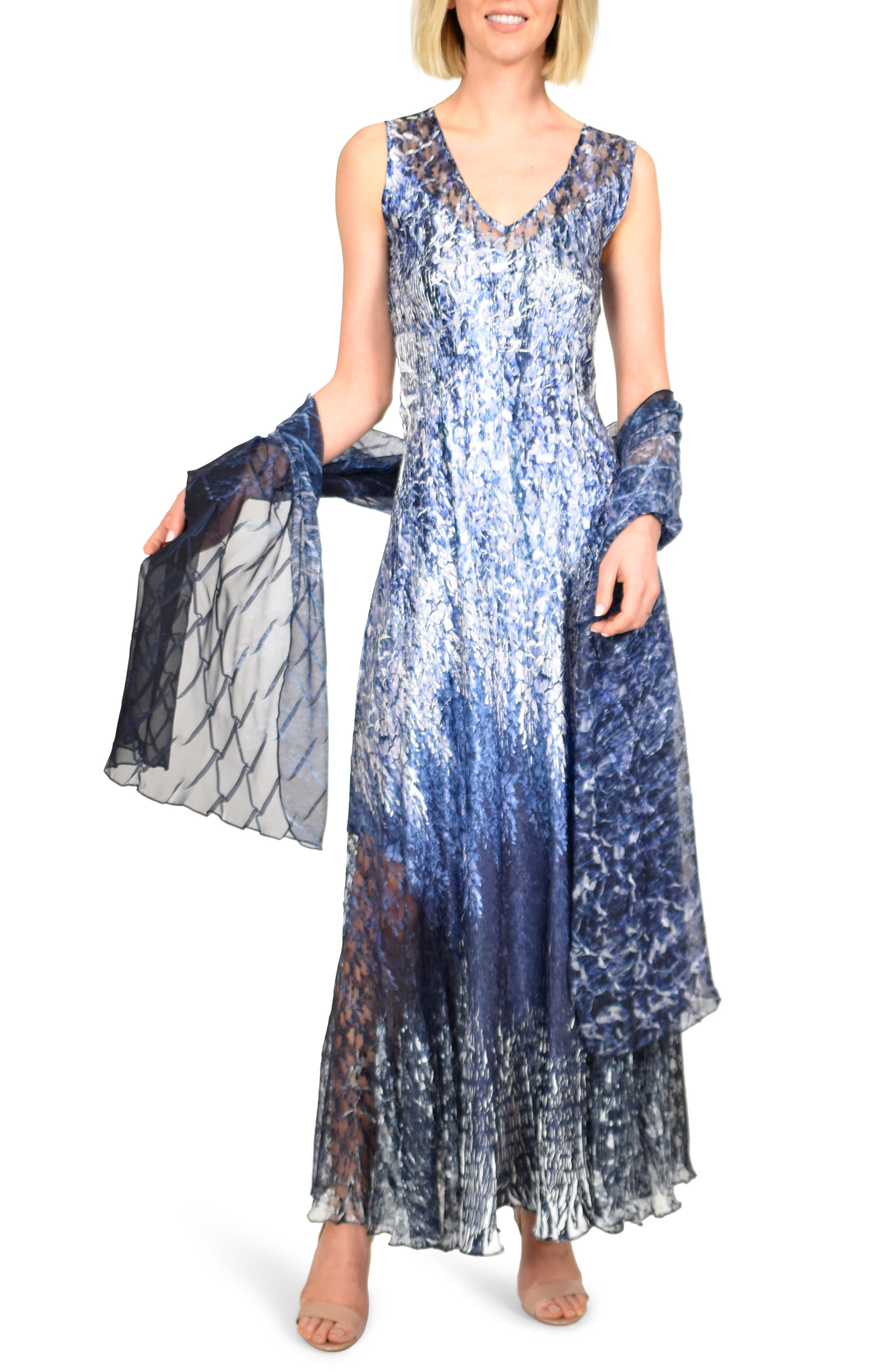Komarov Charmeuse Maxi Dress With Wrap, Blue