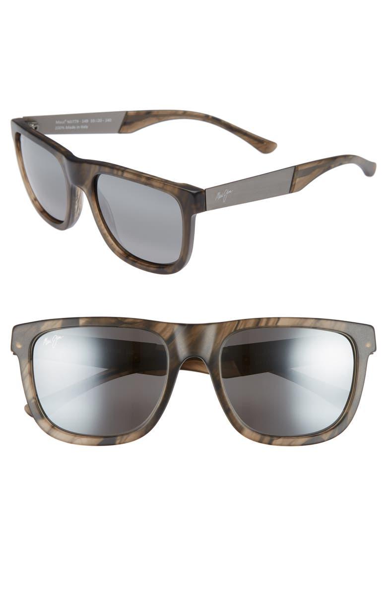 MAUI JIM Talk Story 55mm Polarized Sunglasses, Main, color, STORMY GREY/ NEUTRAL GREY