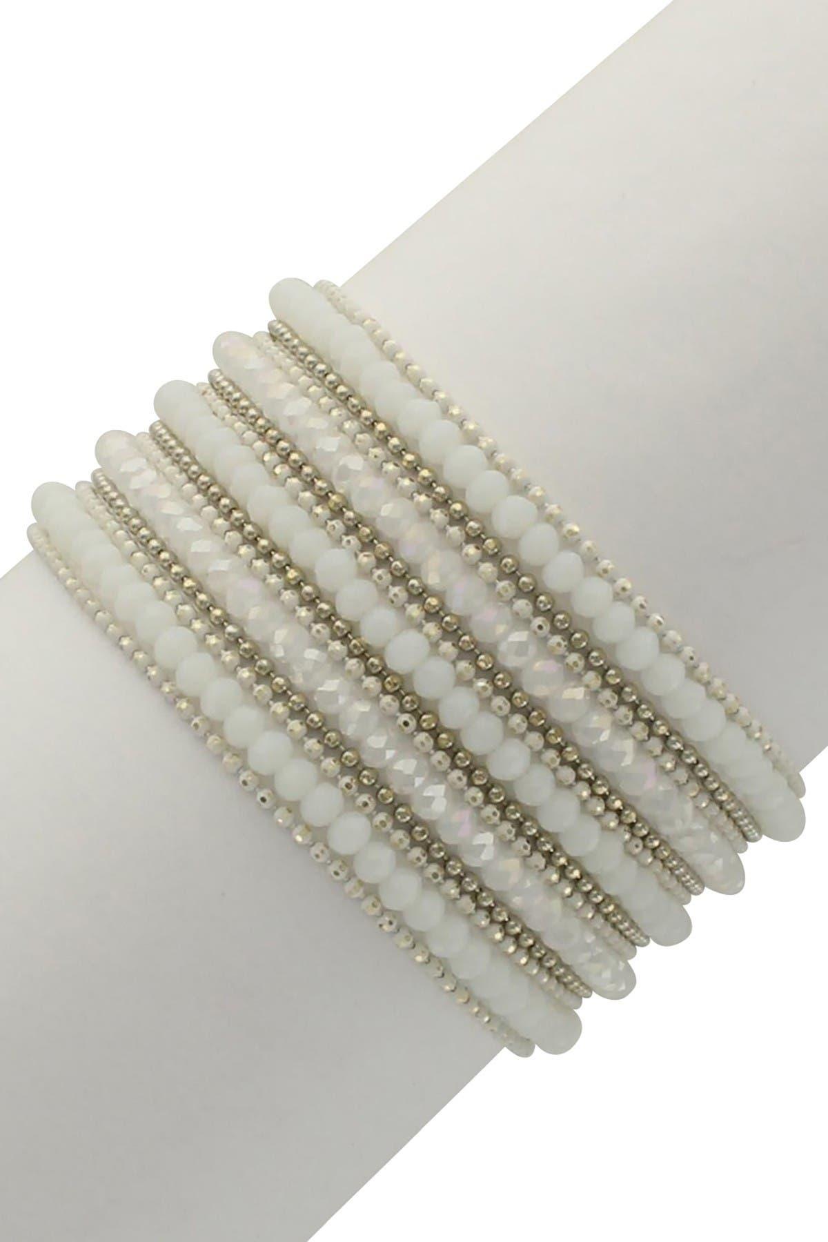 Image of Olivia Welles Shannon Beaded White Crystal & Resin Multi Strand Bracelet