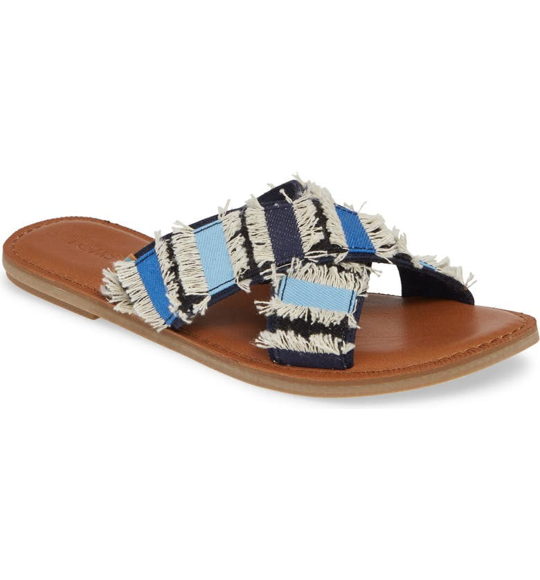 TOMS Viv Sandal, Main, color, NAVY DENIM FABRIC