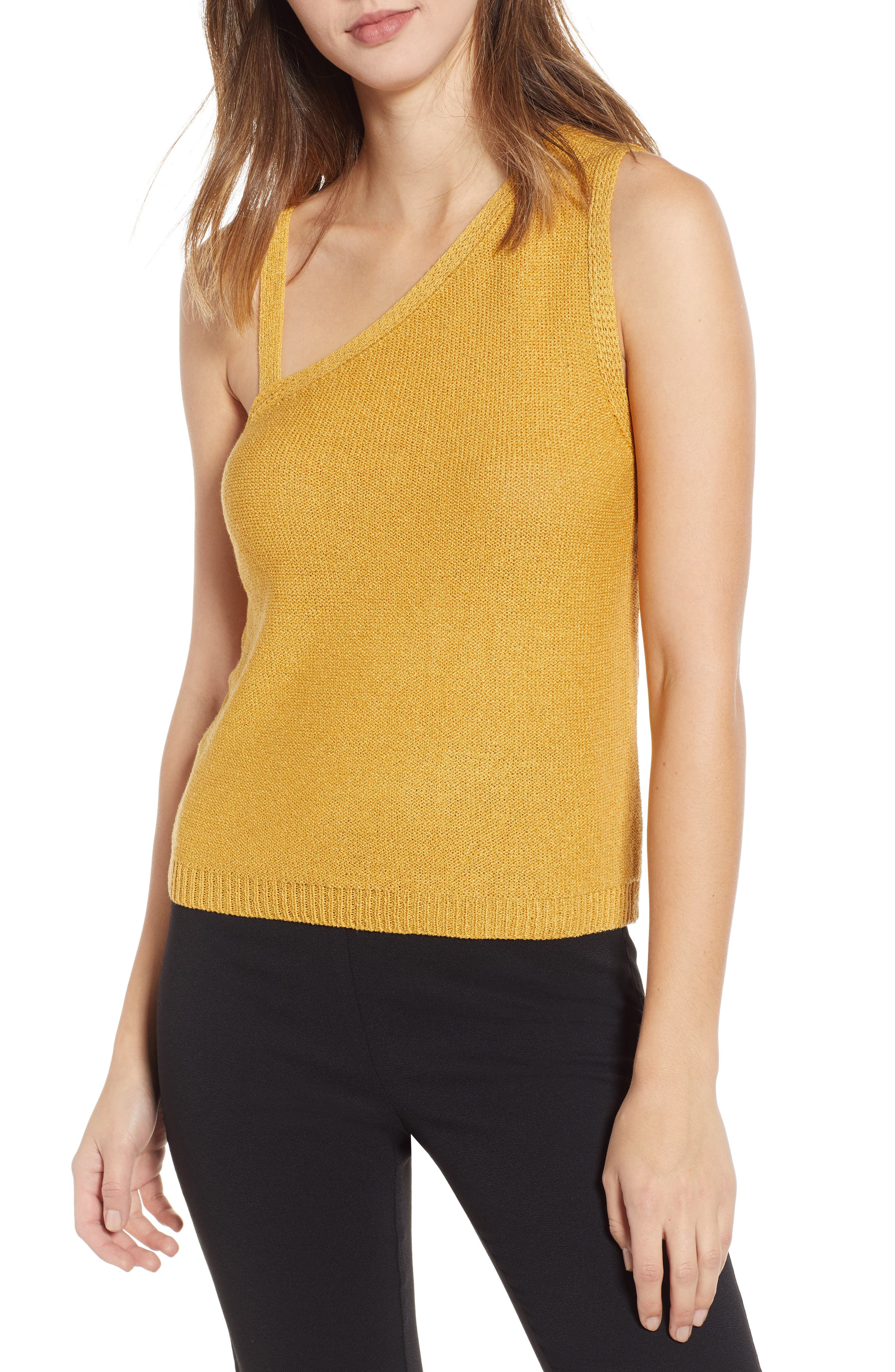 English Factory Asymmetrical Knit Camisole, Yellow