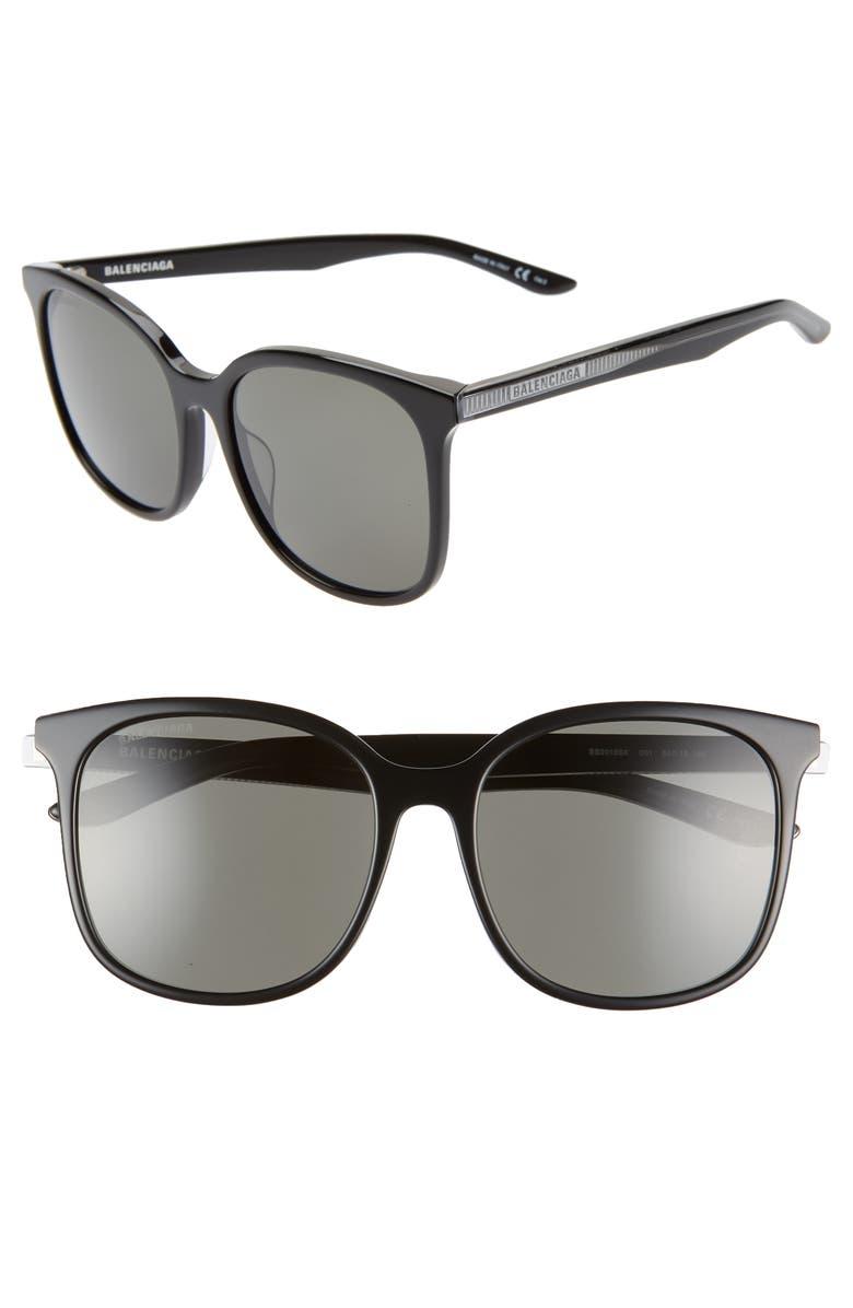BALENCIAGA 56mm Square Sunglasses, Main, color, 001