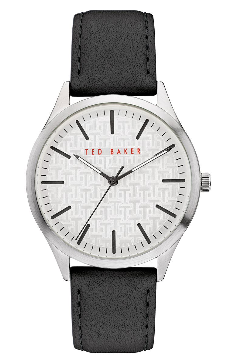 TED BAKER LONDON Manhatt Leather Strap Watch, 40mm, Main, color, BLACK/ SILVER