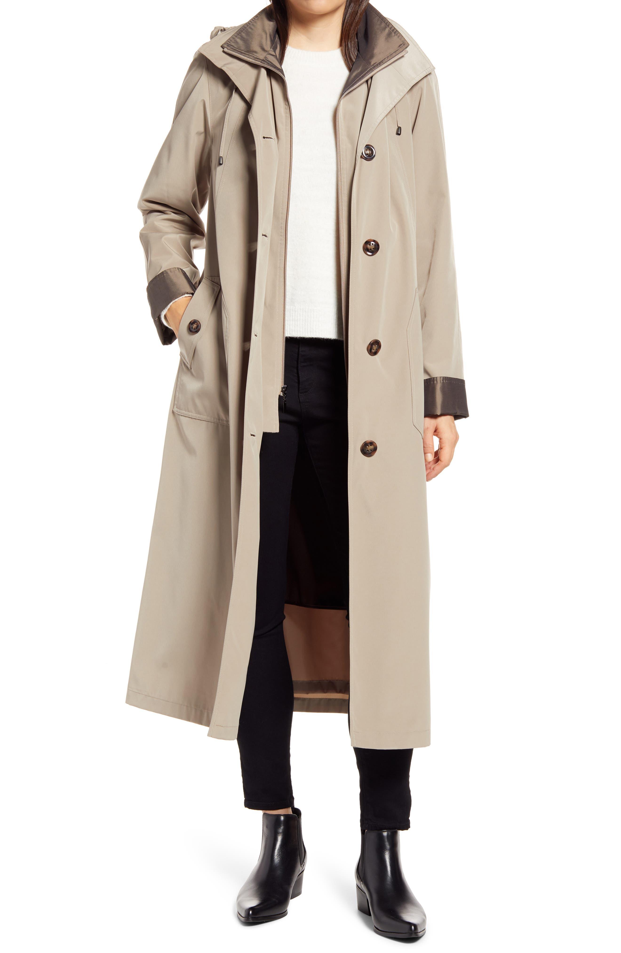 Full Length Two-Tone Silk Look Raincoat