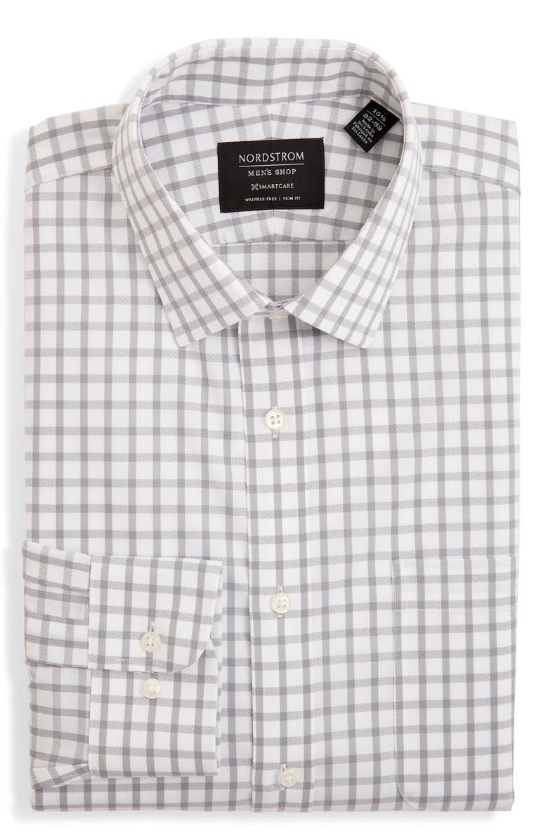 NORDSTROM MEN'S SHOP Smartcare Trim Fit Plaid Dress Shirt, Main, color, GREY SLEET