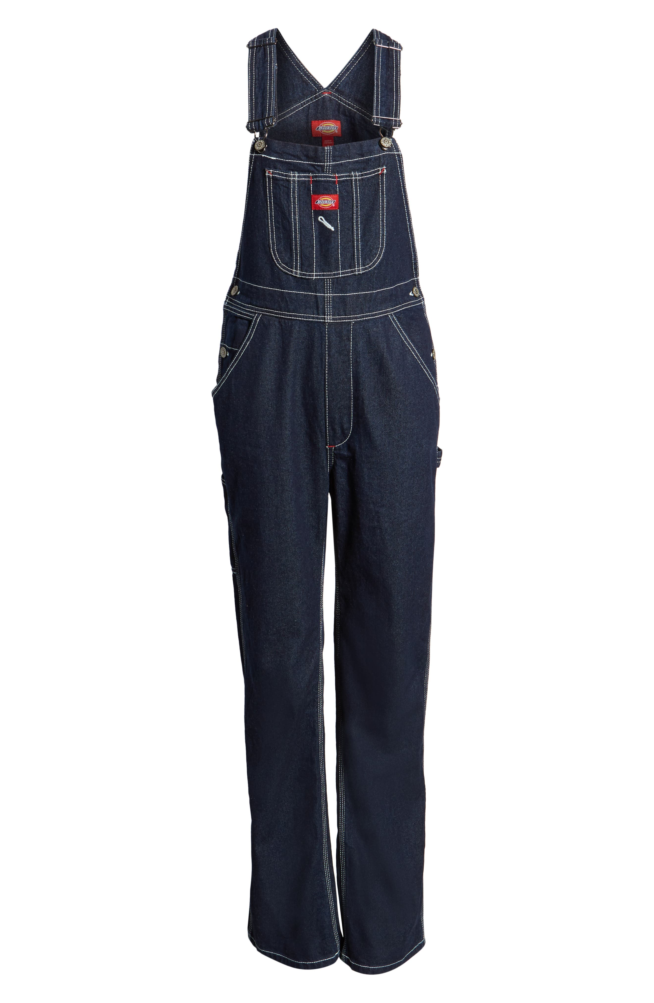 ,                             Relaxed Fit Denim Overalls,                             Alternate thumbnail 7, color,                             DARK RINSE