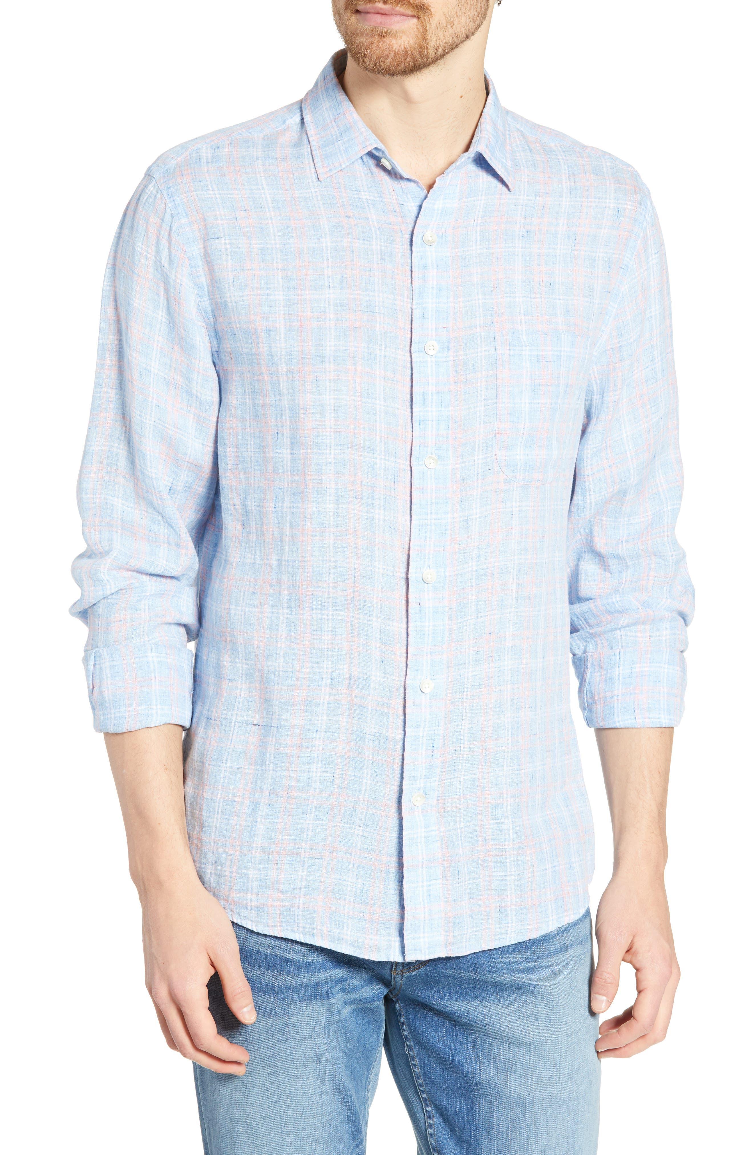 Faherty Regular Fit Plaid Linen Sport Shirt, Blue