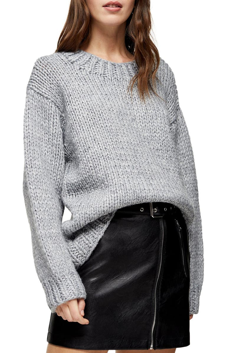 TOPSHOP Chunky Knit Sweater, Main, color, GREY