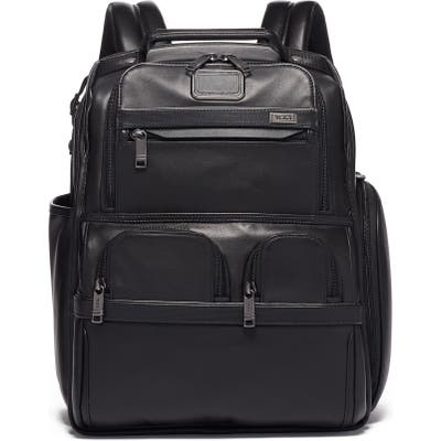 Tumi Alpha 3 Compact Laptop Leather Brief Pack - Black