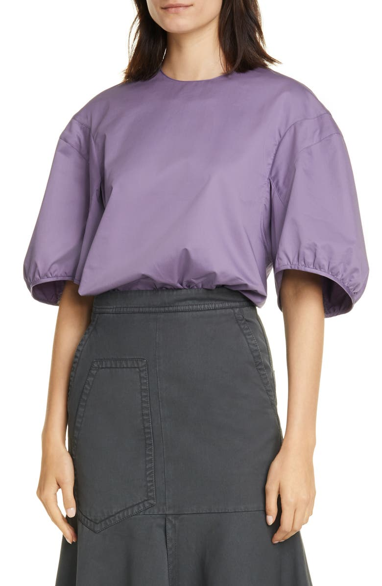 TIBI Balloon Sleeve Eco Poplin Top, Main, color, PURPLE