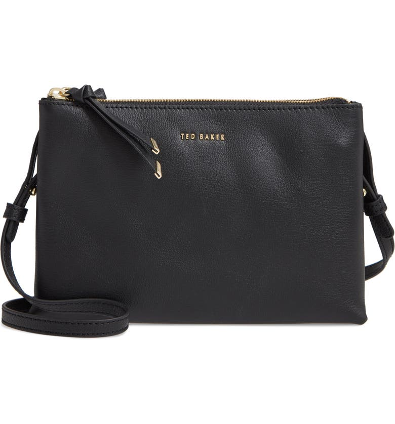 TED BAKER LONDON Daniibar Double Zip Leather Crossbody Bag, Main, color, BLACK