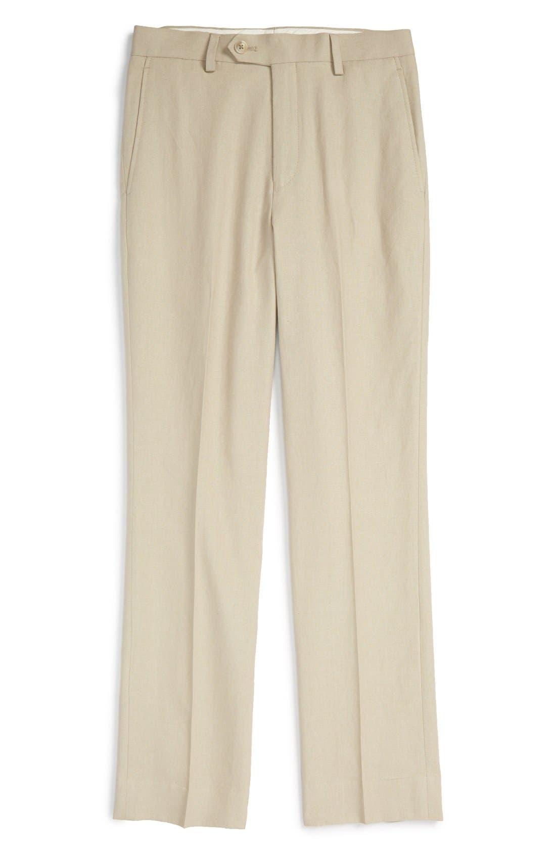 'Kirton' Flat Front Linen Blend Trousers, Main, color, TAN
