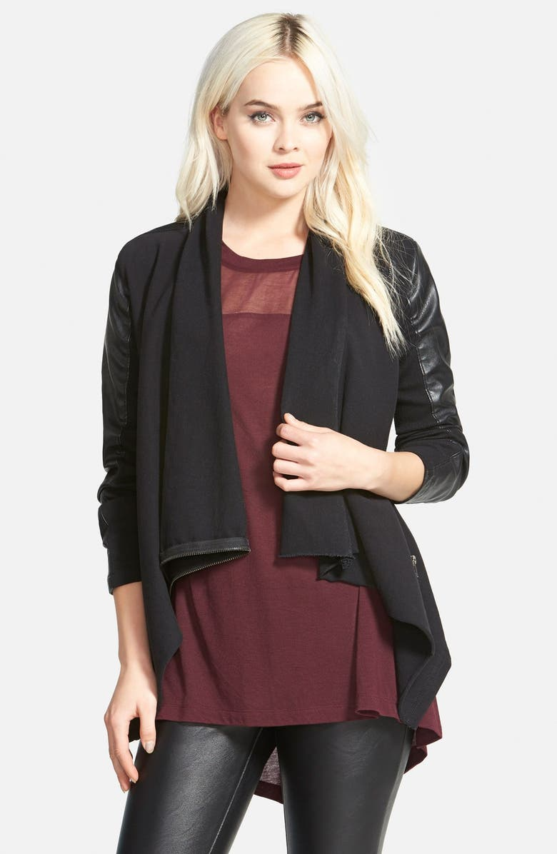 BLANKNYC 'Private Practice' Mixed Media Drape Front Jacket, Main, color, 001