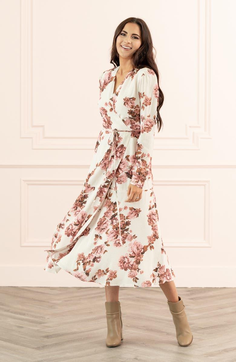 RACHEL PARCELL Rachel Parcel Long Sleeve Wrap Midi Dress, Main, color, PINK PARCHMENT FLORAL DOT
