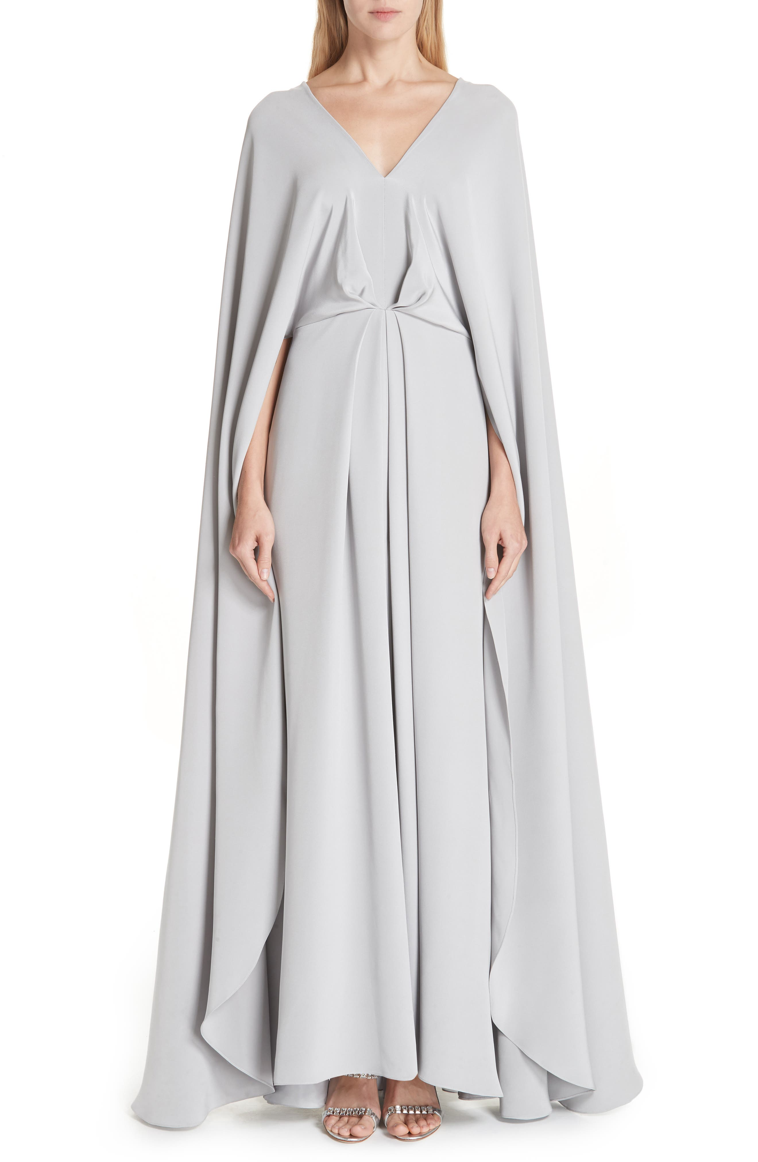 Christian Siriano V-Neck Cape Silk Gown, (fits like 8) - Grey