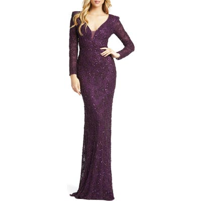 MAC Duggal Sequin & Pearl Beaded Long Sleeve Gown, Purple